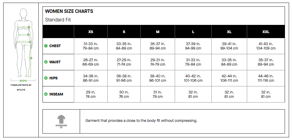Garneau womens apparel sizing chart