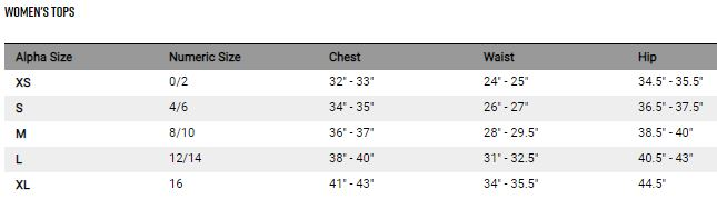 Fox women's tops sizing chart
