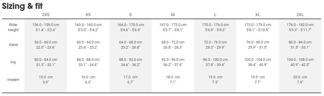 Trek women's apparel sizing chart