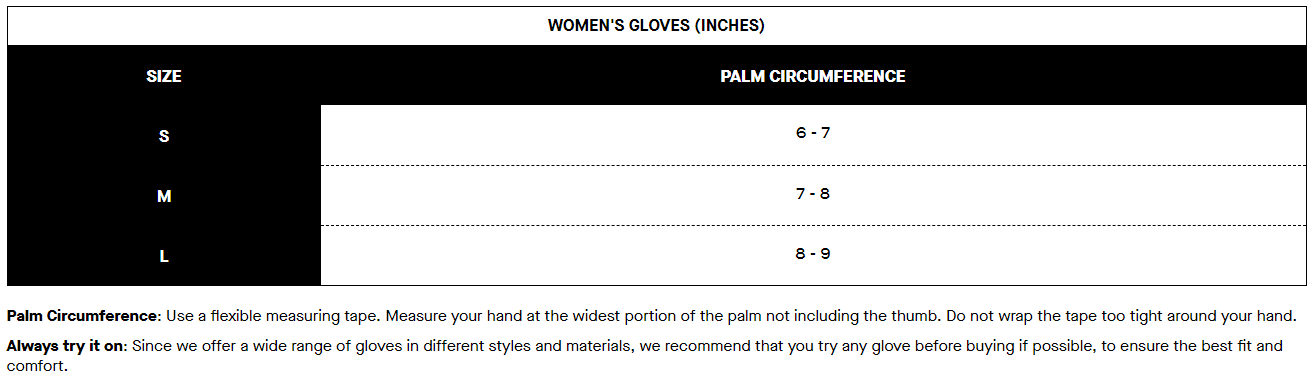 Louis Garneau women's gloves sizing chart
