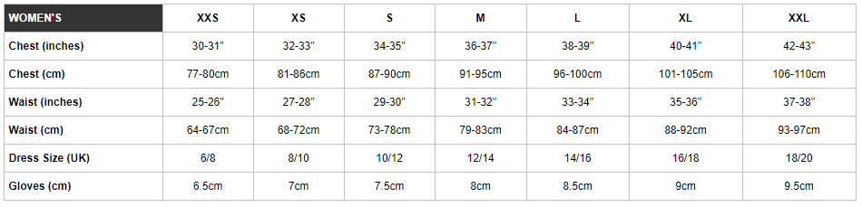 Endura women's sizing chart