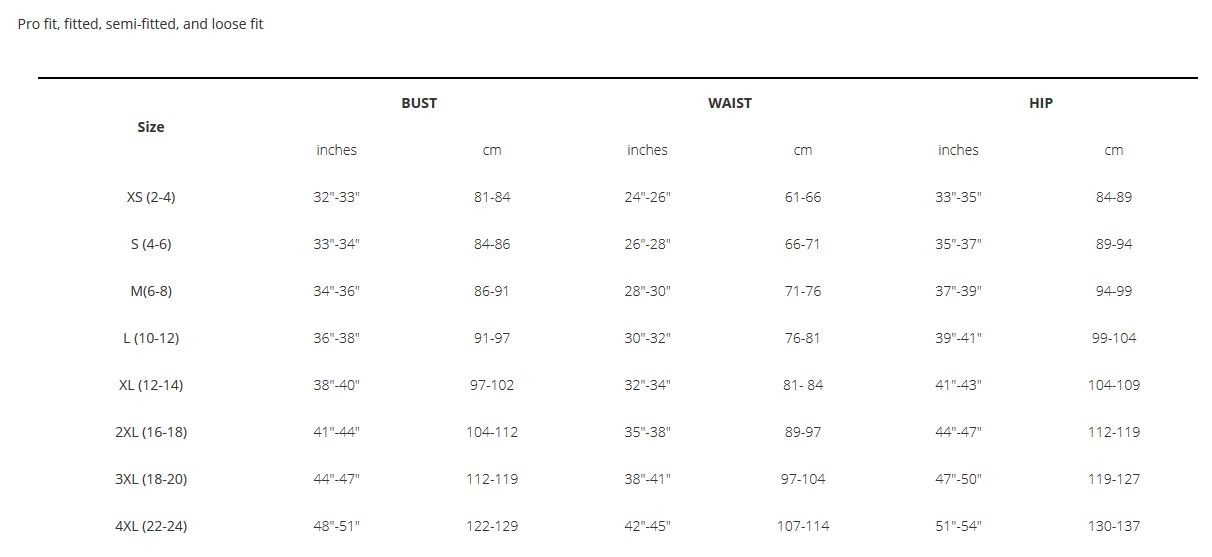 Bontrager Women's apparel sizing guide