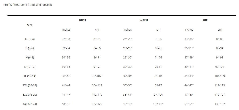 Trek Womens clothing sizing chart