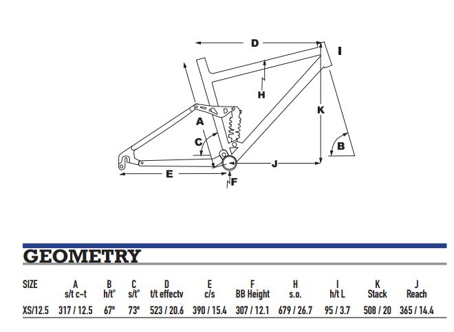 KHS XC 24 Geometry Chart