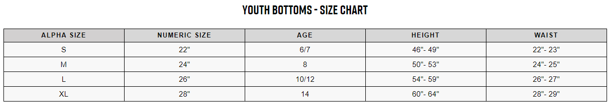 Fox youth bottoms sizing chart