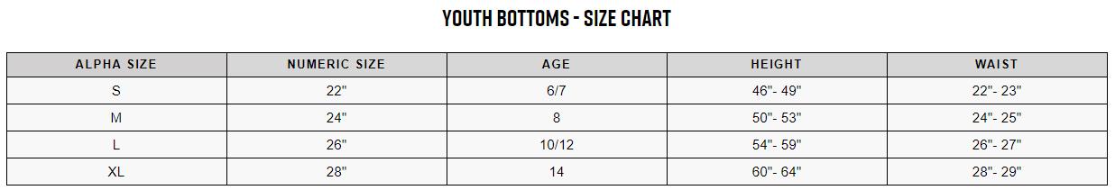 Fox youth bottoms sizing chart