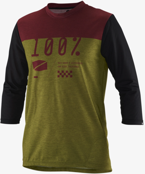 100% Airmatic Jersey 3/4 Sleeve Color: Olive