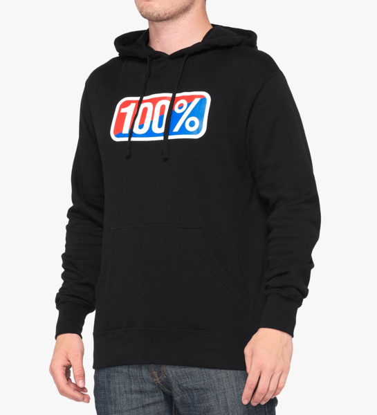 100% Classic Hooded Pullover Sweatshirt Black