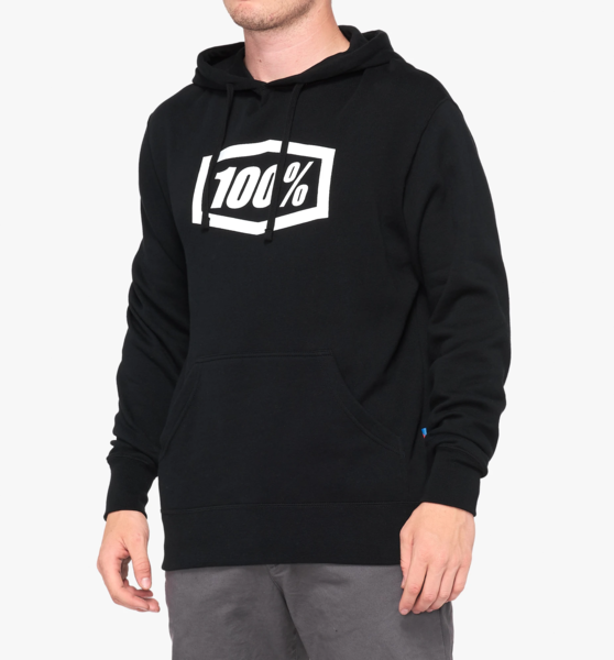 100% Essential Hooded Pullover Sweatshirt Black Color: Black