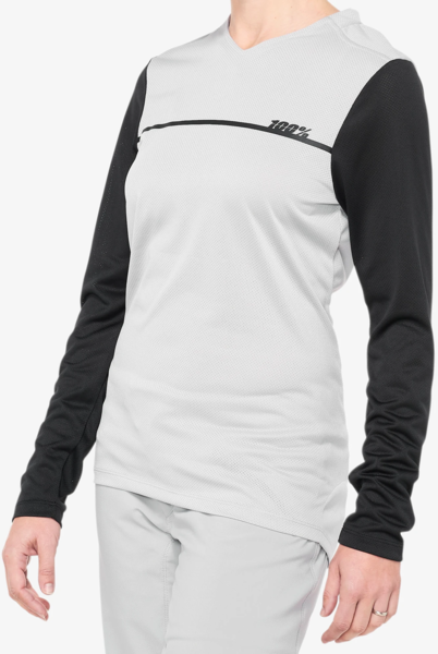 100% Ridecamp Women's Long Sleeve Jersey Color: Grey/Black