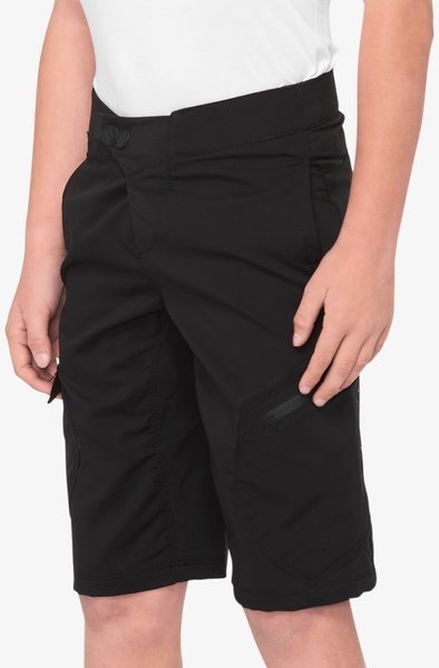 100% Ridecamp Youth Shorts Color: Black