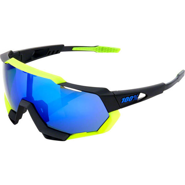 100% Speedtrap Color | Lens: Polished Black/Matte Neon Yellow | Electric Blue Mirror