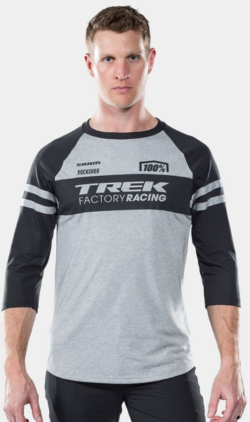 100% Trek Factory Racing 3/4 Tech Tee Color: Dark Grey/Black