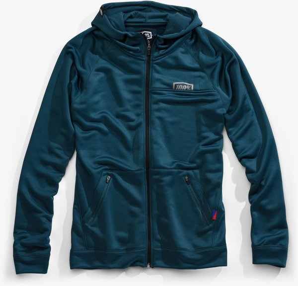 100% Union Zip Hooded Sweatshirt Color: Dark Teal