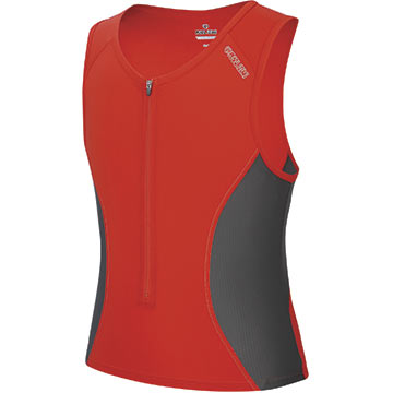 Pearl Izumi Elite Singlet Color: Shadow Gray/Fiery Red