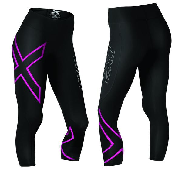 2XU Mid Rise 7/8 Compression Tights - Women's Color: Black/Pink