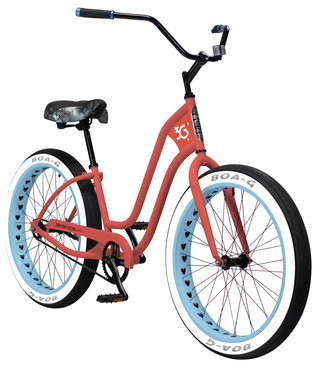 3G Bikes Imperial BBW Color: Coral w/Baby Blue Rims
