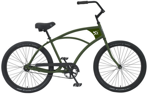 3G Bikes Venice 1 Speed Color: Army Green w/Black Rims