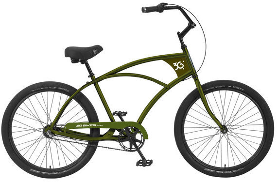 3G Bikes Venice 3 Speed Color: Army Green w/Black Rims
