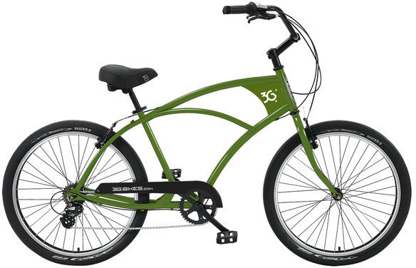 3G Bikes Venice 7 Speed Color: Army Green w/Black Rims