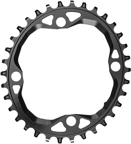 absoluteBLACK Oval 104 BCD 4-Bolt Chainring for Hyperglide+ Color: Black