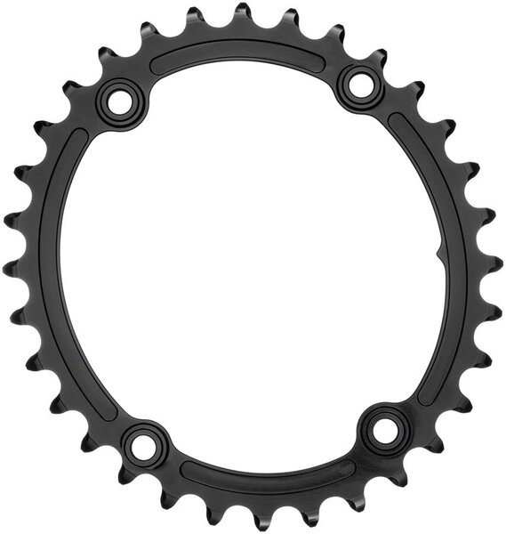 absoluteBLACK Premium Sub-Compact Oval 110 BCD 4-Bolt Road Inner Chainring Color: Black