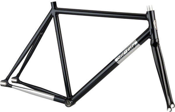 All-City Thunderdome Frameset Color: Black with Polished Downtube and Chainstays