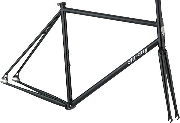 All-City Big Block Frameset Color: Black/Green Sparkle