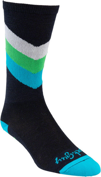 All-City Interstellar Wool Sock Color: Black/Blue/Green/Turquoise