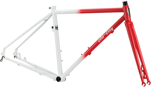 All-City Macho Man Disc Frameset Color: Red/White Fade