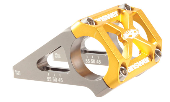 Answer Products DH Direct Mount Stem Clamp Diameter | Color | Length | Rise | Steerer Diameter: 31.8mm | Gold | 45/50/55mm | 0° | N/A