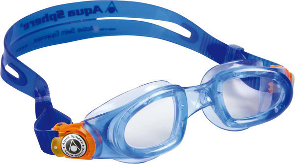 Aqua Sphere Moby Kid Goggle Color | Lens: Blue w/Orange Buckle | Clear