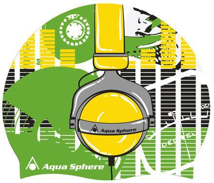 Aqua Sphere Silicone Headphones Swim Cap