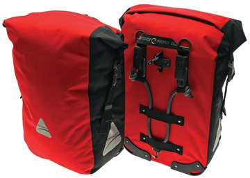 Axiom Monsoon Aero DLX 35 Panniers Color: Red/Black