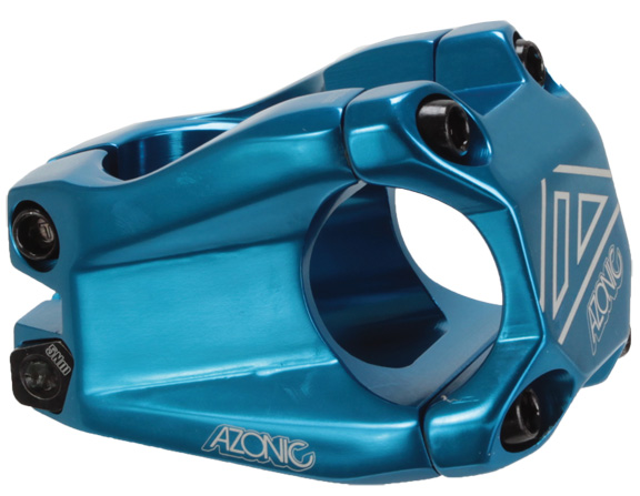 Azonic Baretta II Stem Clamp Diameter | Color | Length | Rise | Steerer Diameter: 31.8mm | Blue | 40mm | 15° | 1-1/8-inch