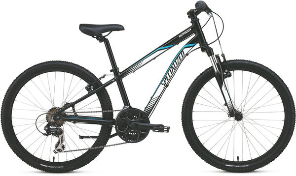 Specialized Boy's Hotrock 24 (21-Speed) Color: Black/White/Cyan
