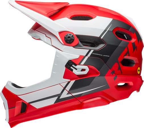 Bell Super DH MIPS Color: Matte Red/White/Black Recourse