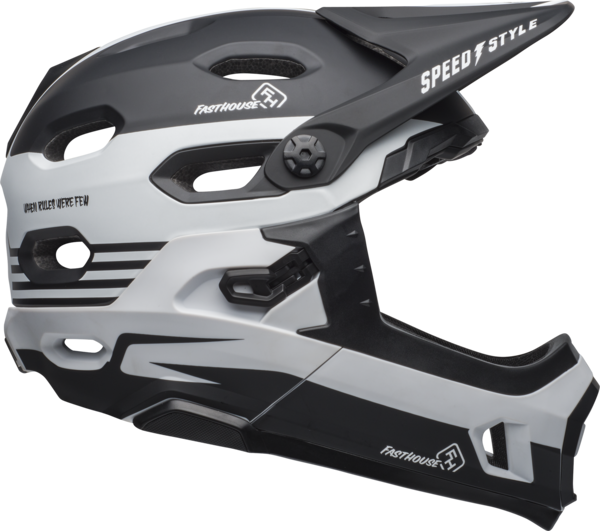 Bell Super DH MIPS Color: Fasthouse Stripes Matte Black/White
