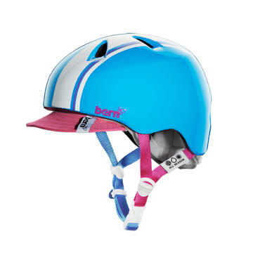 Bern Niña Color: Gloss Cyan/Magenta Racing Stripe w/Visor