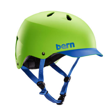 Bern Watts Color: Matte Neon Green w/Blue Brim