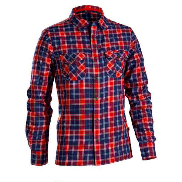Bontrager Flambeau Flannel Long Sleeve Shirt Color: Fathom/Bonty Red Plaid