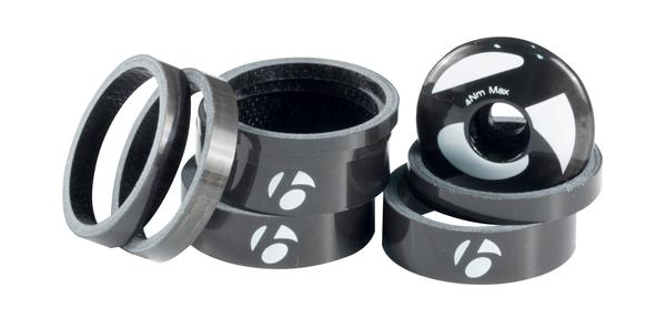 Bontrager Carbon Top Cap/Spacer Kit Color: Uni-Directional Carbon/Bold White Decal