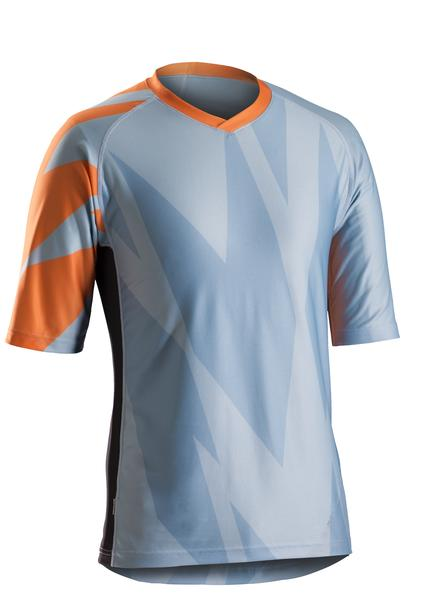 Bontrager Rhythm Tech Tee Color: Powder Blue / Firebrand