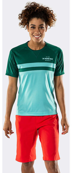 Bontrager Rhythm Women's Mountain Tech Tee Color: Miami Green/British Racing Green