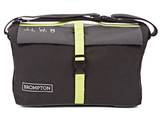 Brompton Roll Top Shoulder Bag Color: Grey Black Lime Green