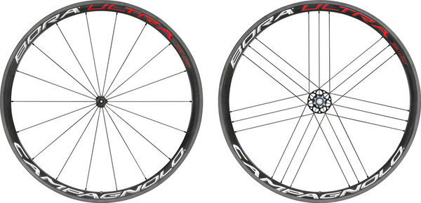 Campagnolo Bora Ultra 35 Tubular Wheelset Clincher and Campagnolo cassette compatibility model shown