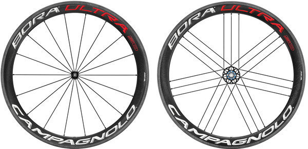 Campagnolo Bora Ultra 50 Tubular Wheelset Clincher and Campagnolo cassette compatibility model shown