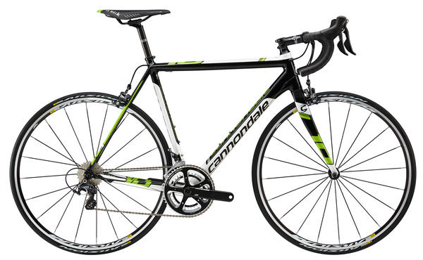 Cannondale CAAD10 Ultegra 3 Color: Jet Black w/ Berserker Green, Magnesium White