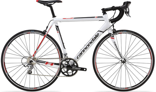 Cannondale CAAD8 6 Tiagra Color: Magnesium White w/ Black and Red