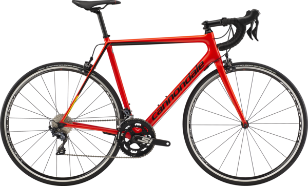 Cannondale SuperSix EVO Carbon Ultegra Color: Acid Red w/Black Pearl and Hot Yellow